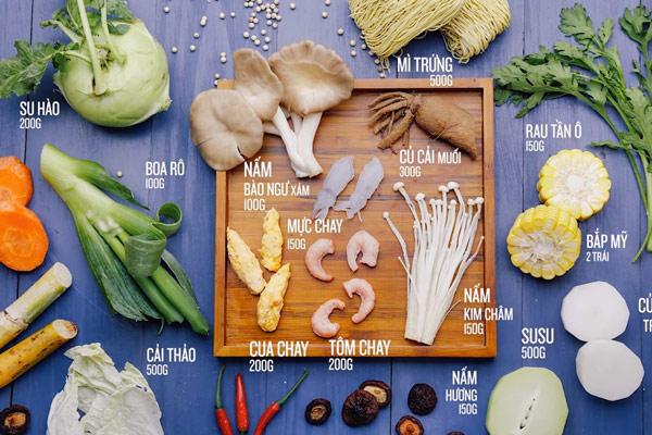 nguyên liệu nấu lẩu hải sản chay