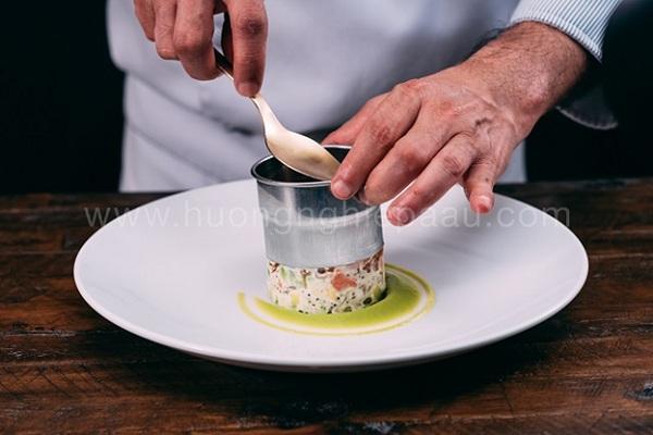 tạo hình salad bơ cá hồi