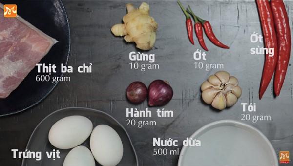 Các nguyên liệu nấu thịt kho trứng