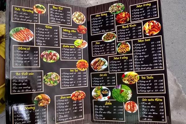 mẫu menu thực đơn quán nhậu đa dạng món